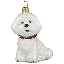 Diva Dog Joy to the World Collectibles Bichon with Red and Green Collar Christmas Ornament