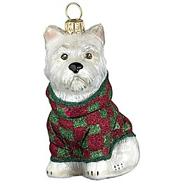 Joy to the World Collectibles Diva Dog Westie wearing Checked Coat Christmas Ornament
