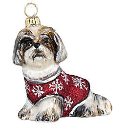 Joy to the World Diva Dog Brown & White Shih Tzu Santa Paws Ornament
