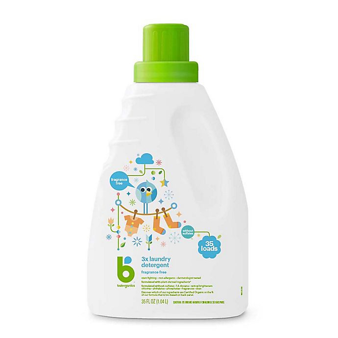 Alternate image 1 for Babyganics® HE 35 oz. Fragrance-Free 3x Laundry Detergent