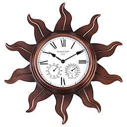 Sterling & Noble Metal Sun Outdoor Wall Clock with Copper Finish