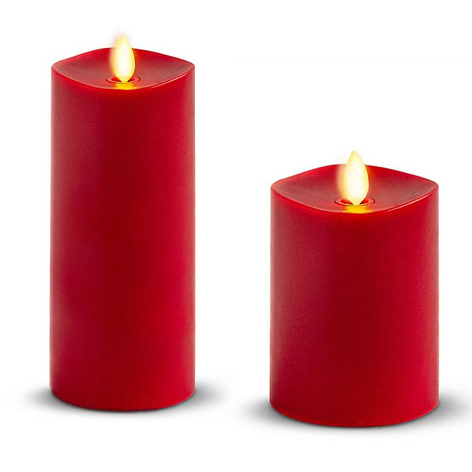 Alternate image 1 for Luminara® 4-Inch Real-Flame Effect Pillar Candle in Burgundy