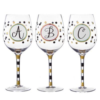 Monogram Letter Wine Glass | Bed Bath & Beyond
