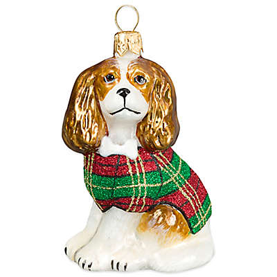 Diva Dog Joy to the World Collectibles Cavalier King in Tartan Plaid Coat Christmas Ornament