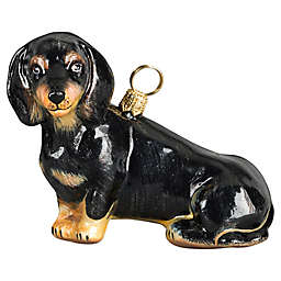 Pet Set Joy to the World Collectibles Sitting Dachshund Christmas Ornament in Black