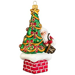 Joy to the World Collectibles St. Nick Atop The Chimney Traditional Version Christmas Ornament