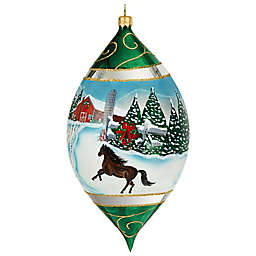 Joy the World Collectibles Vintage Snowy Barn Scene with Stallion Drop Christmas Ornament