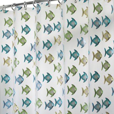 InterDesignR PEVA Fishy Shower Curtain In Blue Green