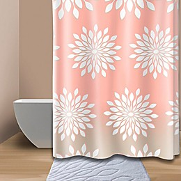 Extra-Wide Medina Floral Shower Curtain in Coral/White