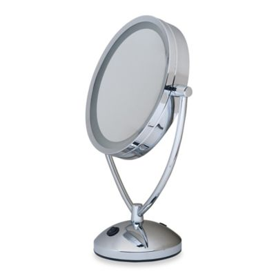 1x/10x Magnifying Lighted Chrome Vanity Mirror | Bed Bath ...