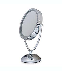 Espejo para tocador Floxite con aumento de 1x/10x y luz en cromo