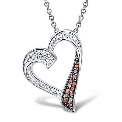 Sterling Silver .10 cttw White and Treated Red Diamond Open Heart Pendant Necklace
