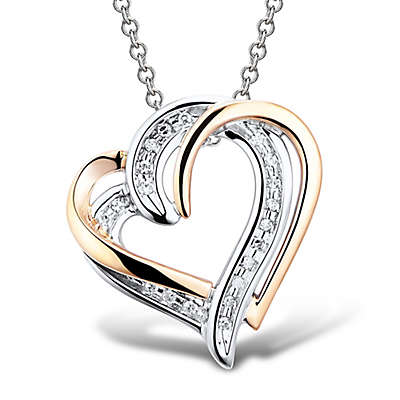 Sterling Silver and Rose Gold-Plated .06 cttw Diamond Double Open Heart Pendant Necklace