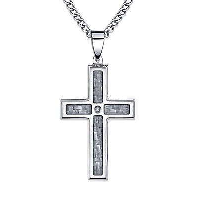 Stainless Steel and Grey Carbon Fiber .02 cttw Diamond 24-Inch Chain Men's Cross Pendant