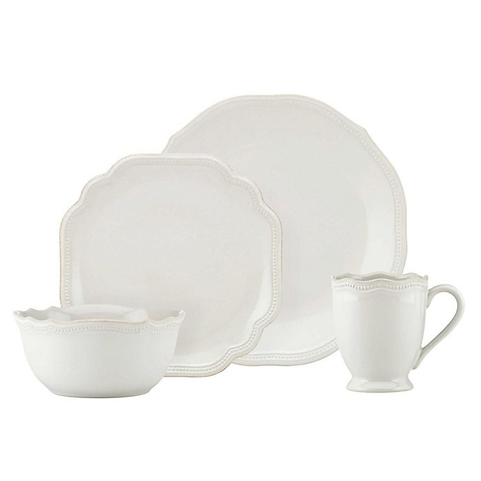 Alternate image 1 for Lenox® French Perle Bead 16-Piece Dinnerware Set in White