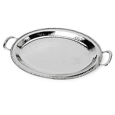 """Classic Touch Hammered Stainless Steel Handled 21"""" Oval Tray with Stones"""