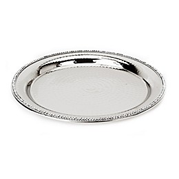 Classic Touch Hammered Stainless Steel Round Platter