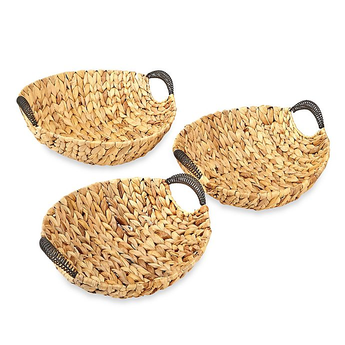 Alternate image 1 for Round Straw Tray with Wire Handles (Set of 3)