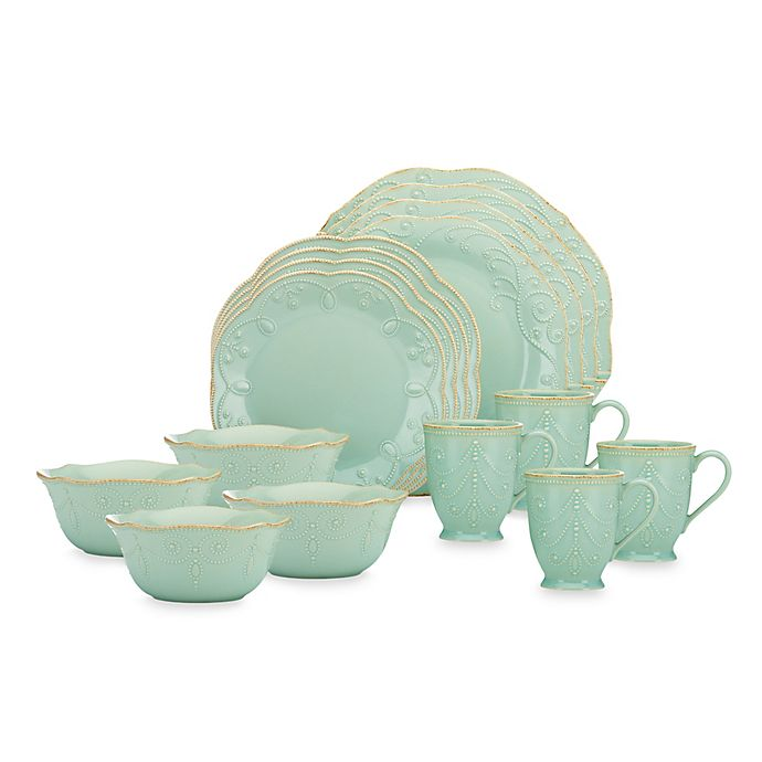 Alternate image 1 for Lenox® French Perle 16-Piece Dinnerware Set in Ice Blue