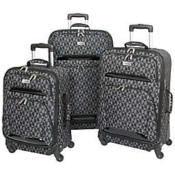 Geoffrey Beene 3-Piece Hearts Luggage Collection in Grey/Black