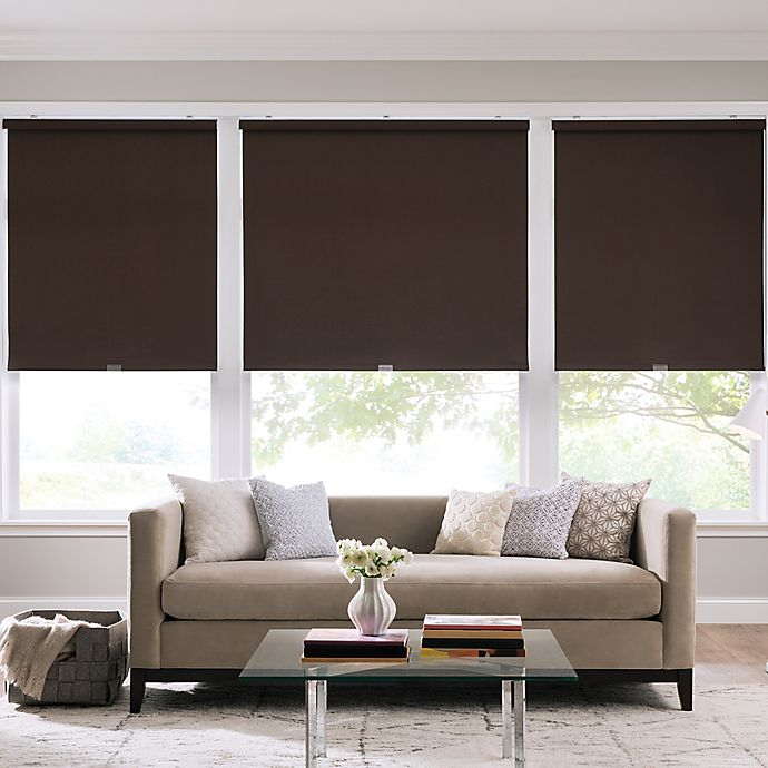 Alternate image 1 for Real Simple® Cordless Cotton Twill Roller 62-Inch x 66-Inch Shade in Coffee