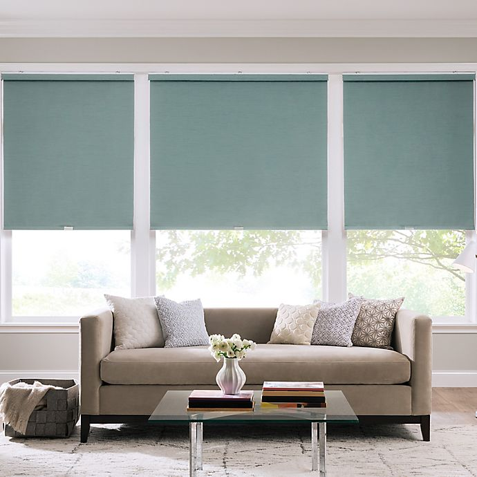 Alternate image 1 for Real Simple® Cordless Faux Silk Roller 56-Inch x 66-Inch Shade in Sea Mist