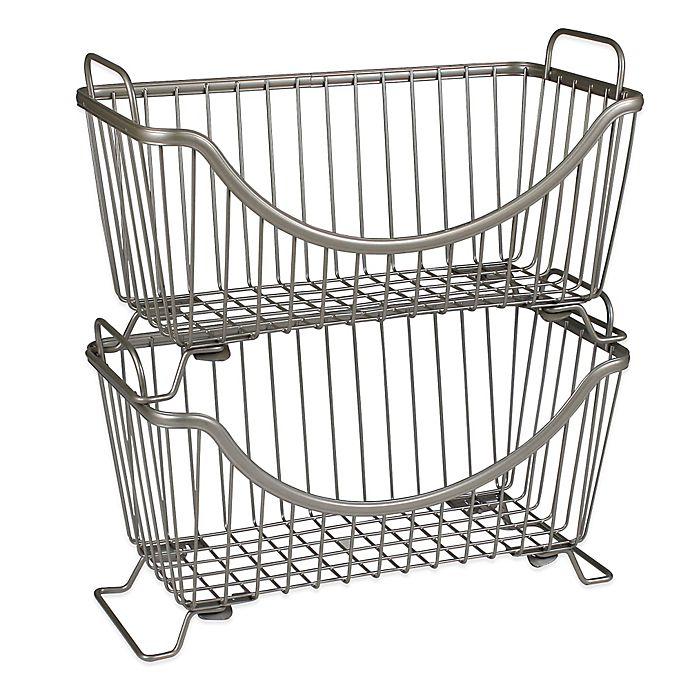 Buy Spectrum™ Small Stackable Basket in Satin Nickel from