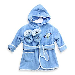SpaSilk® Baby Size 0-9M Airplane Hooded Terry Bathrobe and Booties Set in Blue
