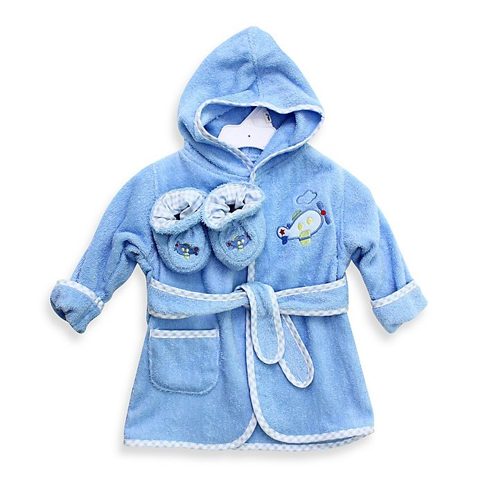 Alternate image 1 for SpaSilk® Baby Size 0-9M Airplane Hooded Terry Bathrobe and Booties Set in Blue