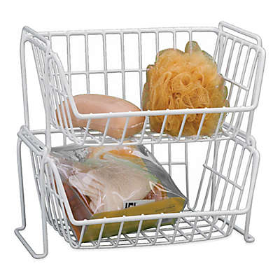 Grayline Stacking Basket in White