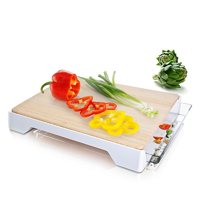 Alternate image 1 for Tomorrow's Kitchen 12-Inch x 15-Inch Bamboo Cutting Board with Tray