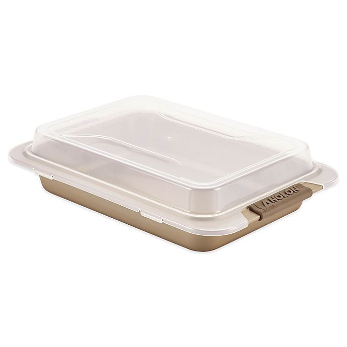 Alternate image 1 for Anolon® Advanced 9-Inch x 13-Inch Covered Cake Pan in Bronze