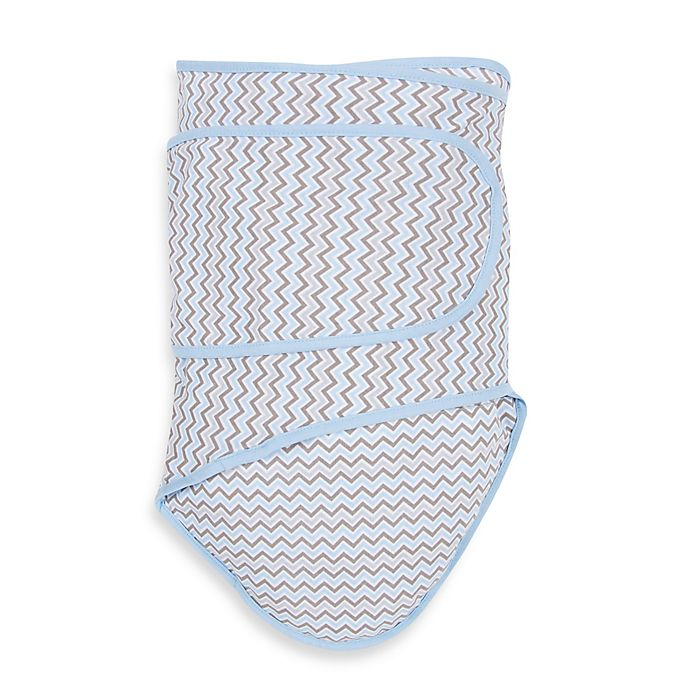 Alternate image 1 for Miracle Blanket® Chevron Swaddle in Blue/Grey