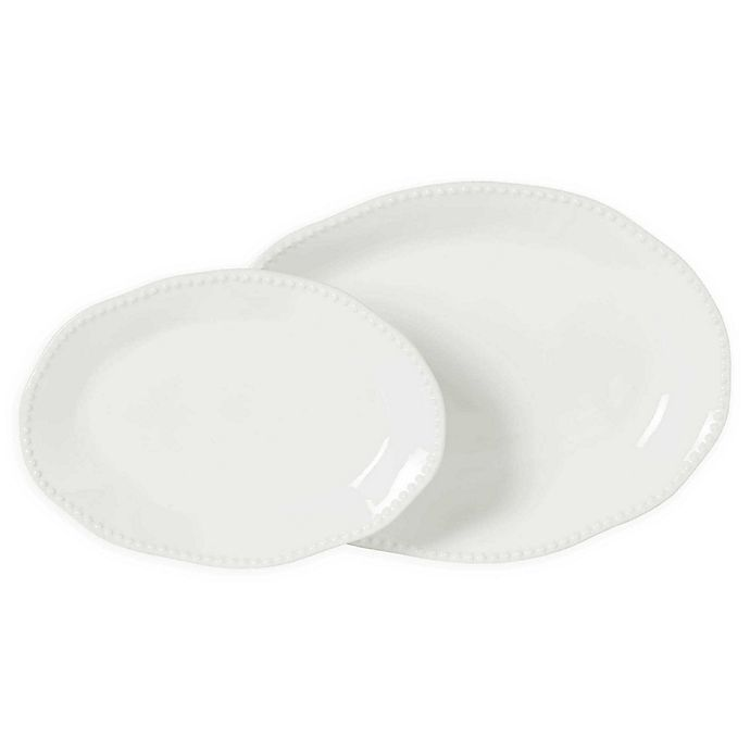 Alternate image 1 for Modern Farmhouse  Organic Bead 2-Piece Oval Platter Set in White