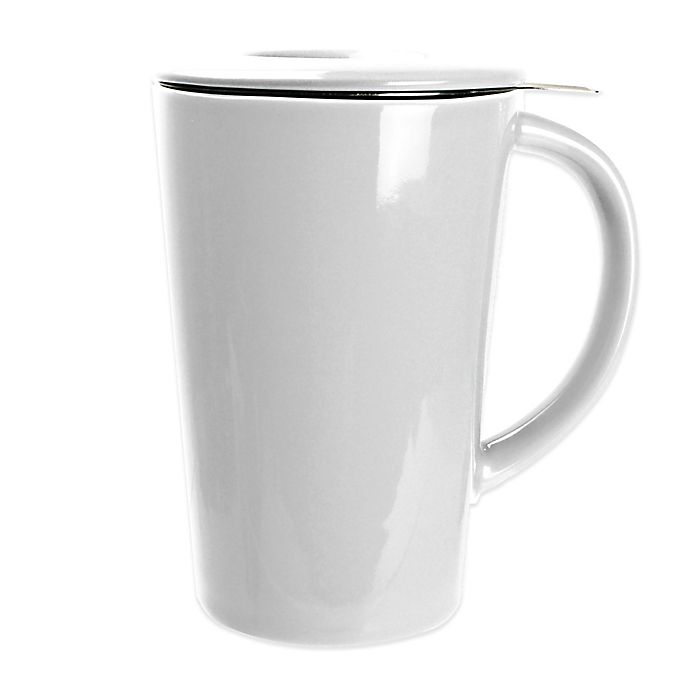 Alternate image 1 for Primula® 14 oz. Tea Brewing Ceramic Mug with Infuser in White