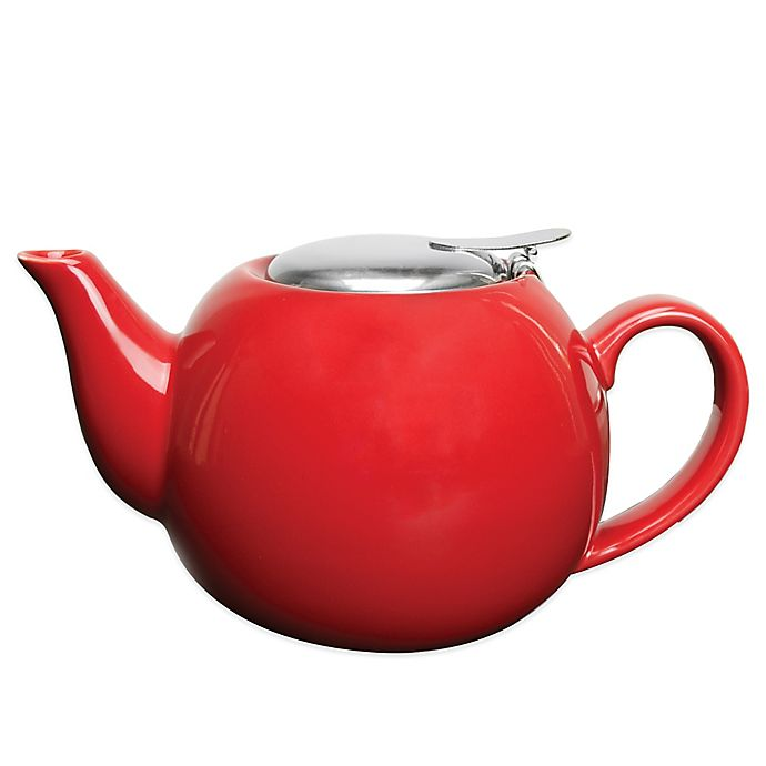 Alternate image 1 for Primula® Ceramic Teapot with Stainless Steel Infuser in Red
