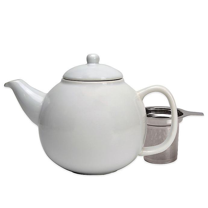 Alternate image 1 for Primula® Ceramic Teapot  with Stainless Steel Infuser in White