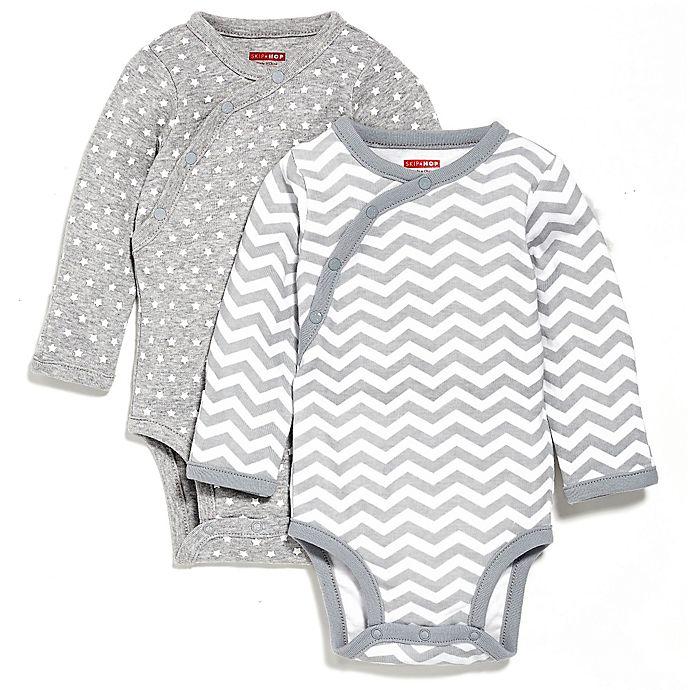 Alternate image 1 for SKIP*HOP® 2-Pack Side-Snap Long Sleeve Print Bodysuit in Grey Multi