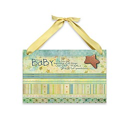 """Imagine Design Lil Star """"New Baby"""" Plaque in Green"""