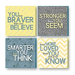 """Imagine Design """"Brave,"""" """"Strong,"""" """"Smart,"""" """"Loved"""" Plaques in Grey/Yellow (Set of 4)"""
