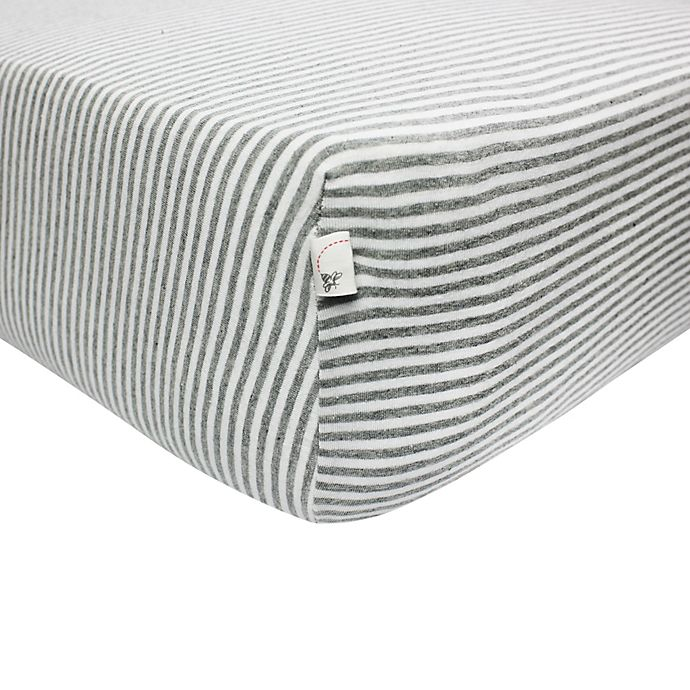Alternate image 1 for Burt's Bees Baby® Bee Essentials Stripe 100% Organic Cotton Fitted Crib Sheet in Grey