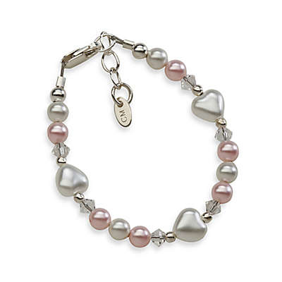 Cherished Moments Sweetheart Medium Sterling Silver with Pink and White Pearls Bracelet