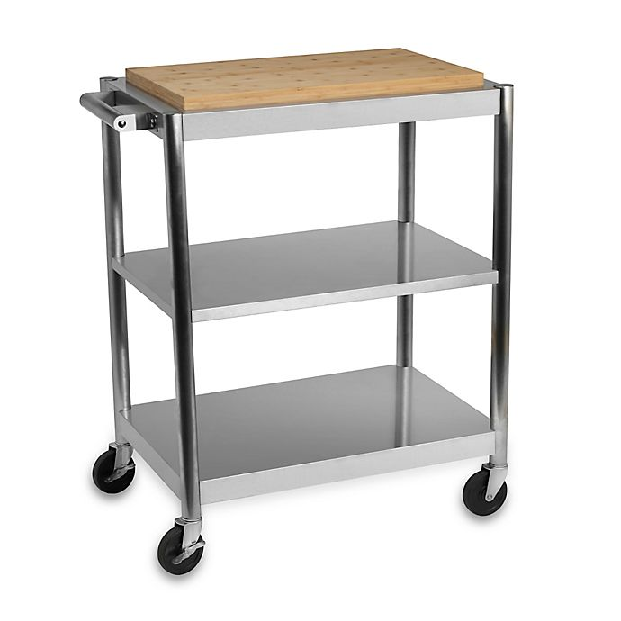 International Silver Stainless Steel Rolling Kitchen Cart with Bamboo Top