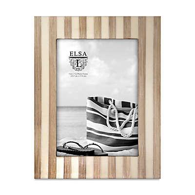 Elsa L Coastal Bamboo Stripe 5-Inch x 7-Inch Picture Frame