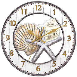 Shell 13-Inch Wall Clock in Grey