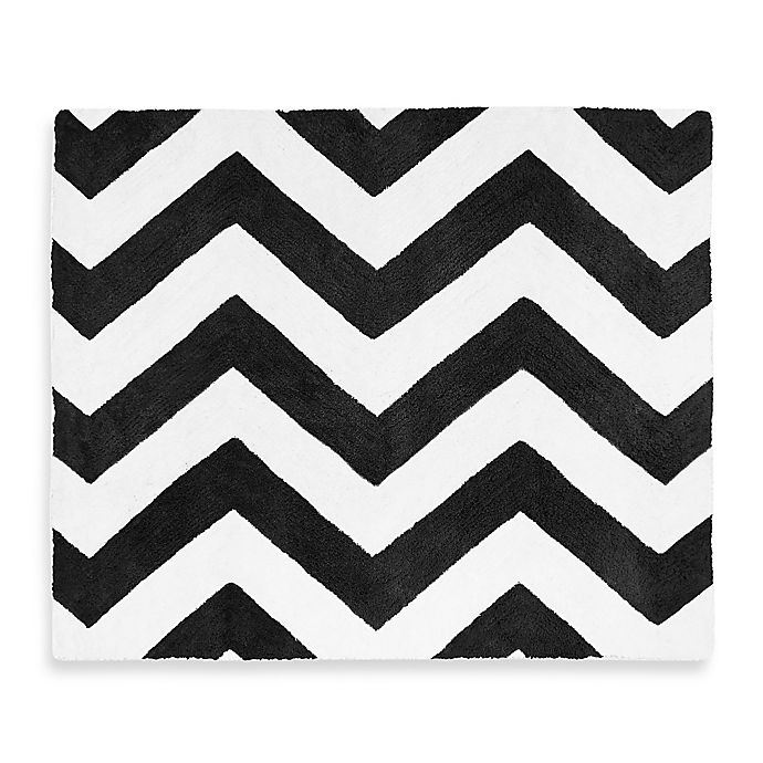 Alternate image 1 for Sweet Jojo Designs Chevron Rug in Black/White