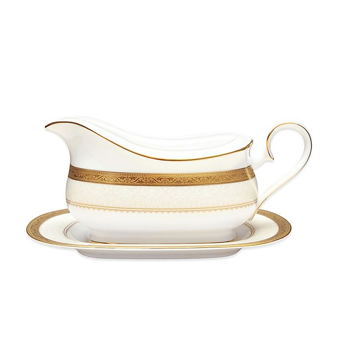 Alternate image 1 for Noritake® Odessa Gold Gravy Boat and Stand