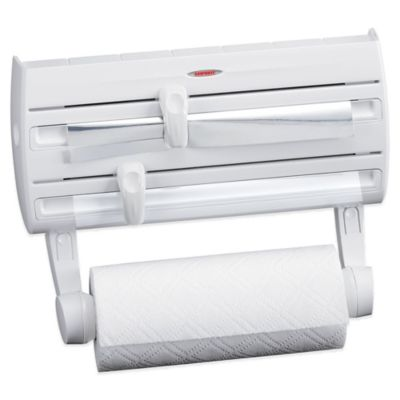 Leifheit Wall Mount Paper Towel Holder with Plastic Wrap, Foil Dispenser and Spice Rack | Bed Bath & Beyond