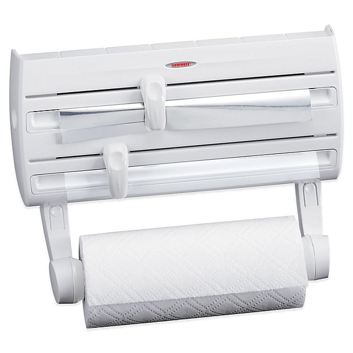 Alternate image 1 for Leifheit Wall Mount Paper Towel Holder with Plastic Wrap, Foil Dispenser and Spice Rack