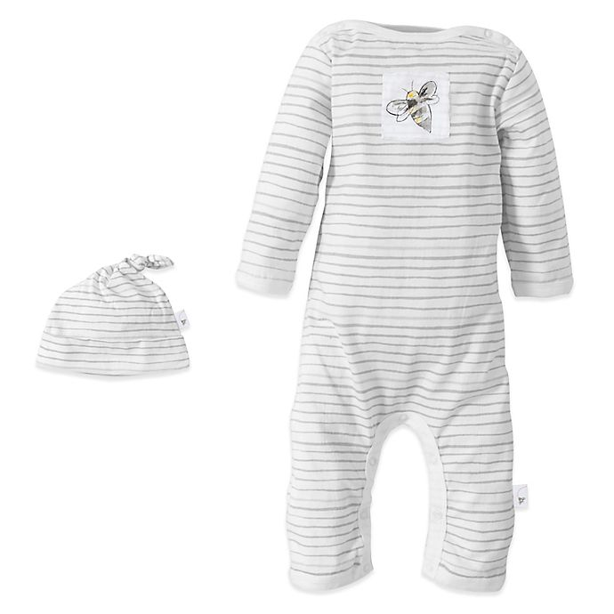 Alternate image 1 for Burt's Bees Baby™ Organic Cotton Watercolor Footless Coverall and Hat Set in Fog Stripe